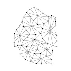 Kingdom of Swaziland map of polygonal mosaic lines network, rays and dots vector illustration.