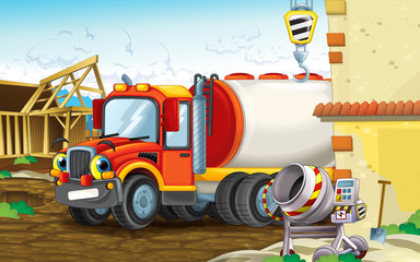 cartoon scene of a construction site with heavy truck smiling - illustration for children
