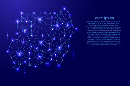Republic of Sudan map of polygonal mosaic lines network, rays and space stars of vector illustration.