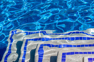 Bright water surface in the pool