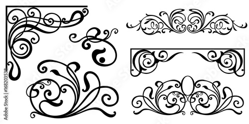 quotset of vintage baroque ornament corner retro pattern