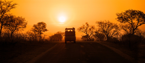 Safari vehicle at sunset