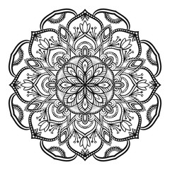Decorative mandala isolated on white background. Indian ornament. Vector illustration. Hand drawn background. Elements for your design.