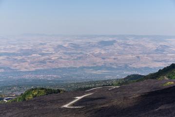 Etna highest Volcano plains of Europe in Sicily Italy
