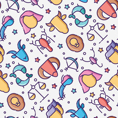 Zodiac signs seamless pattern with thin line icons for banner with horoscope, web site or background. Vector illustration.