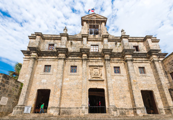 View of the building National Pantheon, Santo Domingo, Dominican Republic. Copy space for text.
