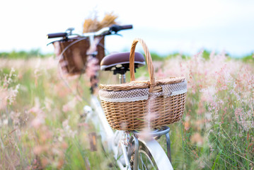 Bicycle retro with basket picnic and guitar of flowers in meadow.  Travel Concept. select and soft focus