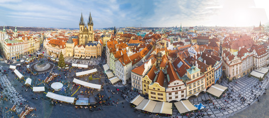Wall Mural - Panoramic view of Prague at Christmas time, Czech Republic.