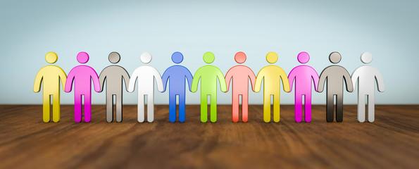 Gruppe von unterschiedlichen Menschen - Konzept Integration, Frieden, Rassismus
