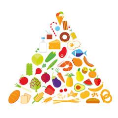 Flat Design Food Pyramid Isolated vector illustration