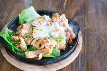 Stir fried Noodles with Chicken and egg , Thai food