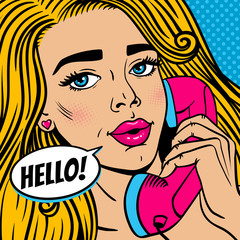Pop art female face. Closeup of sexy young blonde woman with open mouth holding old phone handset and Hello! speech bubble. Vector bright illustration in pop art retro comic style.