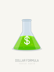 Lab science baker with green liquid and dollar sign vector illustration