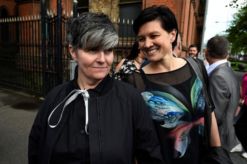 Shannon Sickles and Grainne Close depart the High Court in Belfast