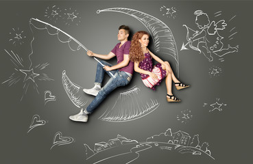 On a silver moon / Happy valentines love story concept of a romantic couple fishing on a moon with a star on a hook against chalk drawings background of a night sky and a Cupid.