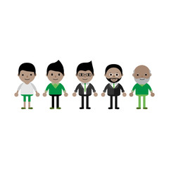 Generation of male characters from young to old. Growing up man in flat cartoon style.