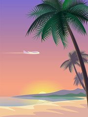 Airplane and tropical paradise palm tree surfboards. Sunny sand coast beach sea ocean landscape.Vector background illustration for text
