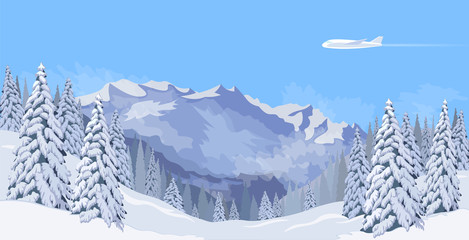 Airplane flying in a blue sky snow mountain winter landscape. Fir tree forest background travel banner template vector illustration