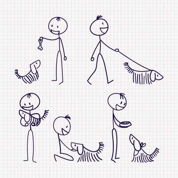 Stick man figure with pet dog with different poses