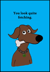 Cartoon illustration of a brown dog who thinks you look quite 'fetching'.