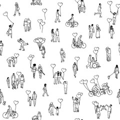 Love is all around - seamless pattern of tiny people holding heart shaped balloons - a diverse collection of small hand drawn men, women and kids in black and white
