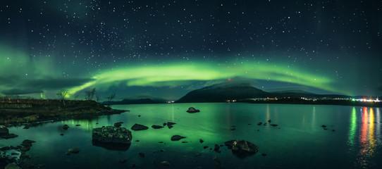 Deurstickers Noorderlicht Kilpisjärvi Aurora Panorama