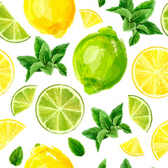 Seamless pattern with citrus fruits. Lime, lemon and mint on white background. Watercolor collection