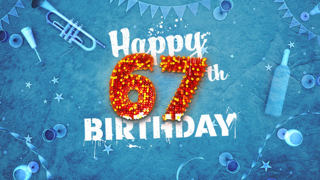 Happy 67th Birthday Card with beautiful details