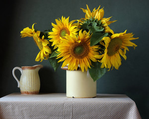 Bouquet of sunflowers on the table.