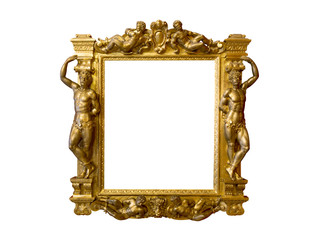 Fancy antique golden frame with relief