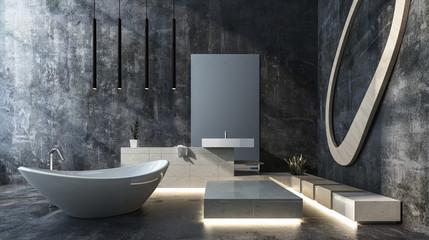 Luxuriöses Badezimmer in Beton Loft