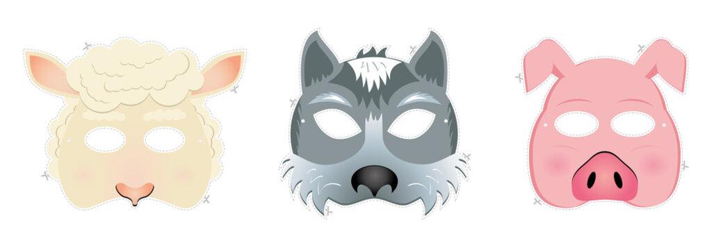 Carnival masks - sheep, wolf, piggy