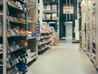 Store for home improvement and DIY. Warehouse of building materials in industiral store. Shallow DOF