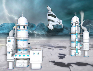 3D illustration of a futuristic Arctic Ice station