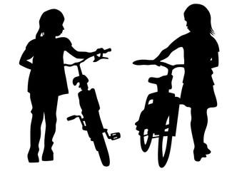 Sport childs whit bike on white background