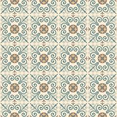 Portuguese tiles pattern. Vintage background. Vector seamless texture