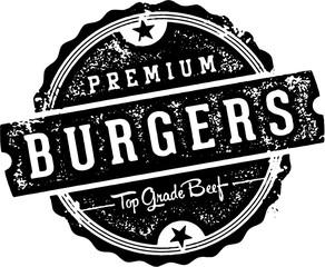 Premium Vintage Beef Burgers Stamp