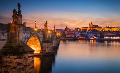 Sunset in Prague, Charles Bridge overlook