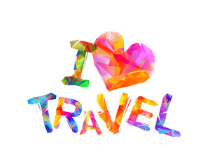 I love travel. Vector inscription