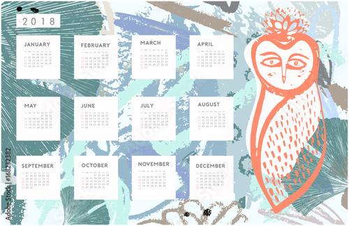 Drawing Calendar 2018 : Quot calendar hand drawn brush strokes owl drawing