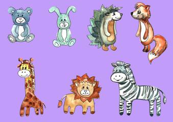 A set of cartoon children's animals