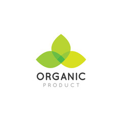 Vector Icon Style Illustration Logo for Organic Vegan Healthy Shop or Store. Green Plant with Leafs Symbol
