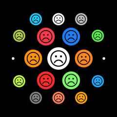 Modernes UI design - trauriges Gesicht