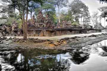 The photo turns into a picture- Banteay Srey Temple ruins (Xth Century) , Siem Reap, Cambodia