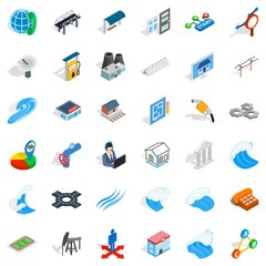 Electricity operator icons set, isometric style