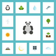 Flat Icons Eco Energy, Sun Power, Sprout And Other Vector Elements. Set Of Green Flat Icons Symbols Also Includes Clouds, Panel, Bear Objects.