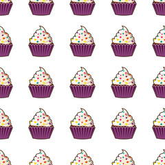 Cupcake vector seamless pattern. Muffin sweet texture background. Colorful dessert backdrop. Texture for prints, decorations, fabric.