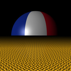 French flag sphere and radioactive warning signs illustration