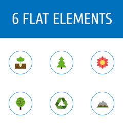 Flat Icons Conservation, Sprout, Landscape Vector Elements. Set Of Eco Flat Icons Symbols Also Includes Conservation, Landscape, Sprout Objects.