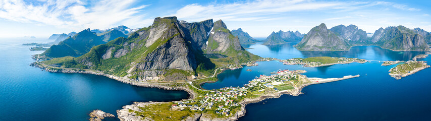 Poster Europa Aerial panoramic view of Reine, Lofoten, Norway, sunny arctic summer